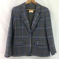 Pendleton Womens Suit Jacket Blue Black Plaid Flap Pockets 100% Virgin Wool M