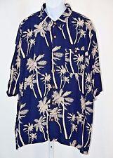"KnightsBridge 2XL Navy Palm Tree Button Front Mens 52"" Rayon Camp Shirt XXL"