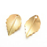 10Pcs Raw Brass Tree Leaf Charms Pendants for DIY Jewelry Earring Making 24*36mm