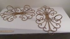 Pr Large Vintage Rustic Swirled Wrought Iron Sconce Plant Holder Candle Holder