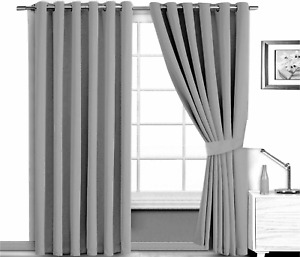 Mid Grey Blackout Curtains Eyelet Ring Top Super Soft Touch with 2 Tiebacks