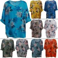 Womens Langenlook Italian Floral Print Cotton Pullover Tunic Top Shirt One Size
