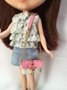 Dollhouse Miniatures White&Pink Shoulder Bag for Blythe/Barbie/Pullip/Licca Doll
