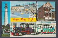 Postcard Multi-View (Lighthouse, Beach, Pink House, and Transport), Cape May, NJ