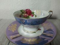 Royal Halsey Tea Cup and Saucer Roses Purple Luster