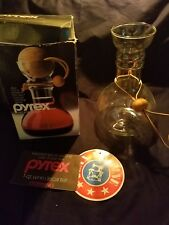 Vtg PYREX 8010 Clear Glass Decanter Wine 1 Qt Liter Cork Ball Top Leather Strap