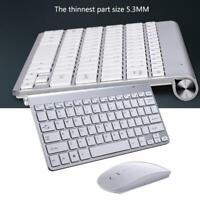 Ultra Thin Mini USB Wireless Keyboard Optical Mouse For PC Set Kit Desktop F2D6