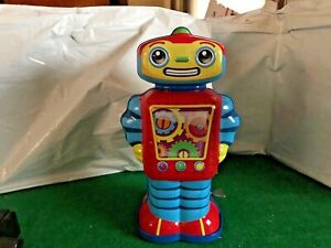 """Schylling Cosmo Wind Up 10"""" Metal Robot Tin Toys 2011 Retro Style 13296W"""