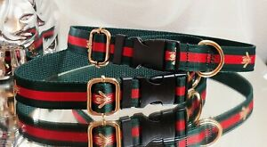 LaGucci Green Red BEE Print🐝GOLD Hardware Dog COLLAR 17-20 in Neck Rt.$74 🐕🍀