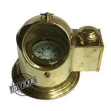 Vintage ENGLISH GERMAN SHIP/BOAT BINNACLE COMPASS GIMBALLED OIL LAMP VINTAG