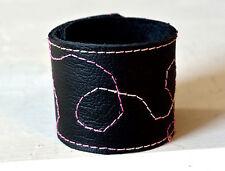 Leder Armband Schnapparmband Klackarmband schwarz bunt Quilt Optik