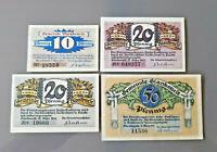BLANKENESE HAMBURG NOTGELD 10, 2x 20, 50 PFENNIG 1921 NOTGELDSCHEINE (12083)