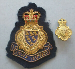 Sussex Yeomanry brass cap badge and blazer badge