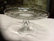 Vvintage Indiana Glass Cake Dish Etched W/Rum  Well High Pedestal  5.5 he 11.5 a