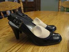 "Nickles Women's Size 6 Black Patent 3"" Heels Dress Shoes Buckled Sling Backs"