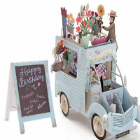 3D Handmade Pop Up Flower Car Greeting Happy Birthday Invitations Cards Gift