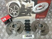 REAR DRILLED GROOVED BRAKE DISCS & BREMBO PADS HONDA CIVIC TYPE R FN2