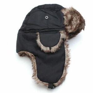 New Unisex Men's Women's  Waterproof Faux Fur Lined Black Trapper Russian Hat