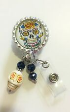 """SUGAR SKULL"" ID REEL BADGE WITH HOWLITE SKULL AND BEADS #2"