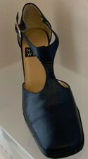 Gently Used 9 Nine West Navy T Strap Square Toe  High Heels  6.5 Made in Brazil