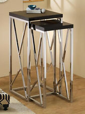 2 PCS NESTING TABLES CHROMED BASE WITH HIGH GLOSS BLACK TOP