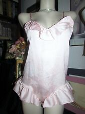 vtg PINK Satin Ruffle Leg Teddie Lingerie Sexy Jacklyn Smith Size Small