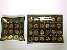 Mid Century Gorges Briard Black Gold Coin Medallion Serving Trays