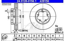 ATE Juego de 2 discos freno Antes 280mm ventilado para FORD TRANSIT
