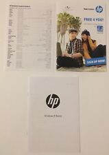 hp Windows 8 Basics Quick Start Guide Booklet/Worldwide Tel Numbers Card/Free 4U