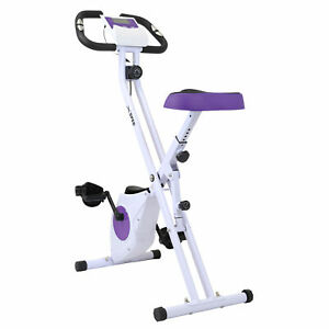 Xspec Foldable Stationary Upright Exercise Workout Indoor Cycling Bike, Purple