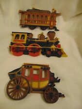 Homco Home Interiors 1975 Train Stagecoach Trolley Car Wall Plaques 3 Pc Set