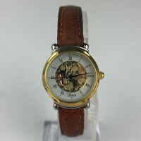 Vintage Timex Womens Skeleton Watch Classic Unique Skeleton Face Gears Leather