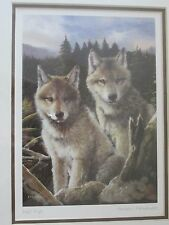 Wolf pups  - framed art card - signed