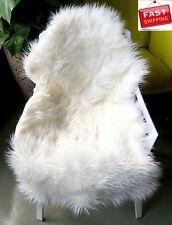 Fur Chair Cover Seat Pad Area Rug Sheepskin Plain Shaggy Floor Cozy Winter Sofa