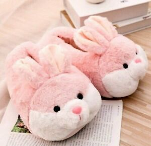 Women Winter Slippers Cute Bunny Cartoon Design Warm Home Plush Indoor Slippers