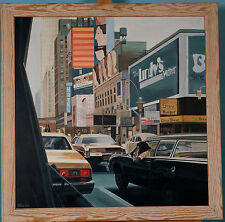 NEW YORK DOWNTOWN VIEW OF TRAFFIC IN OIL ON BOARD