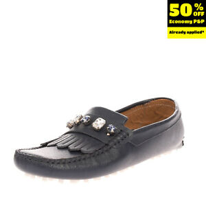 GIORDANA F. Leather Driving Moccasins Size 37 UK 3 US 5 Saffiano Rhinestones