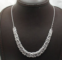 "18"" Technibond Graduated Byzantine Chain Necklace Platinum Clad Real 925 Silver"