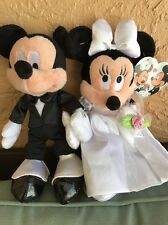 "Disney Mickey Minnie Bride & Groom Wedding Plush Set 9"" NEW"
