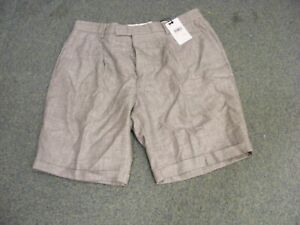 BNWT Reiss grey city shorts with turn up W34 side back pockets linen/wool mix