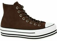 CONVERSE Women's Suede Leather Platform Trainers, Burnt Umber, size UK 7 EU 40
