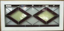 """OLD ENGLISH LEADED STAINED GLASS WINDOW TRANSOM Lovely Diamonds 29.5"""" x 14.25"""""""
