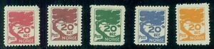 NORWAY 1930's 20ore Tree ESSAYS, 5 diff colors, og, hinged