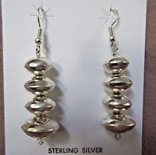Native Navajo Hand Made Sterling Bead Hook Earrings by Angelina Miller Je0225