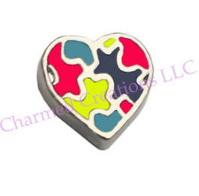Autism Awareness Puzzle Autistic Heart Floating Charm For Glass Memory Locket
