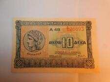 VINTAGE CURRENCY GREECE 10 APAXMAI DRACHMAI P-314 PAPER MONEY 1940 UNC