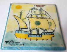 F. S. Pottery Ceramic Tile Picture Art Ship Boat Sun Sweden Blue Yellow 5.5""