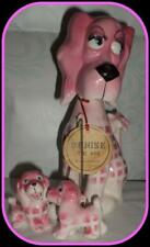 Kreiss Pink Ma Dog w Fun Pups Rhinestone Eyes Ceramic Figurine MEET DENISE!
