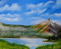 Misty Mountains (Original Acrylic Painting on Canvas)