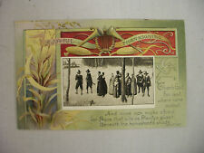 VINTAGE EMBOSSED THANKSGIVING POSTCARD A GROUP OF PILGRIMS IN THE SNOW 1911